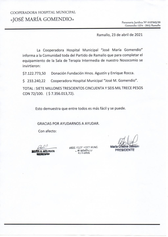 COOPERADORA MUNICIPAL HOSPITAL JOSÉ MARÍA GOMENDIO